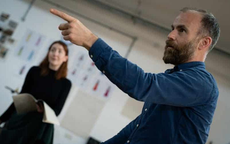 Laurie Sansom directing Quality Street rehearsals. Photo: Sam Taylor